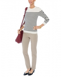 Maree Ecru and Navy Striped Sweater with Buttons