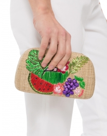 Mia Fruits Raffia Embroidered Minaudiere