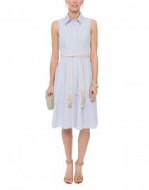 Pale Blue Pleated Cotton Shirt Dress