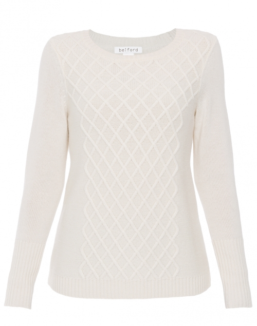 Ivory Cable-Front Cashmere Sweater