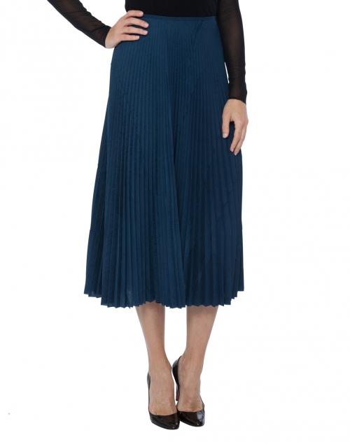 navy pleated midi skirt cedric charlier halsbrook