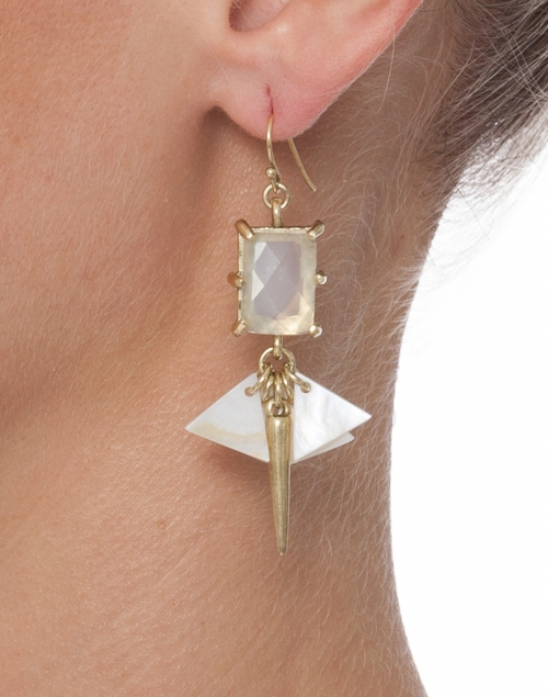 Crystal and Mother of Pearl Drop Earrings