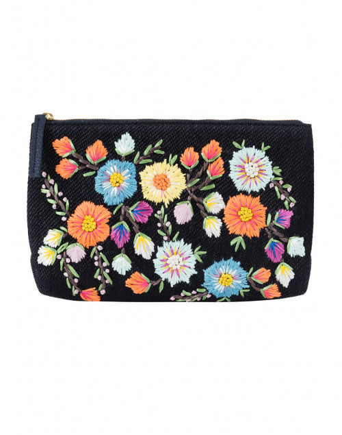 Zinnea Navy Embroidered Raffia Clutch