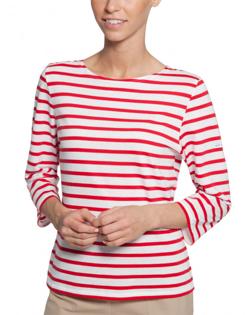Galathee white and red striped shirt saint james halsbrook for St james striped shirt