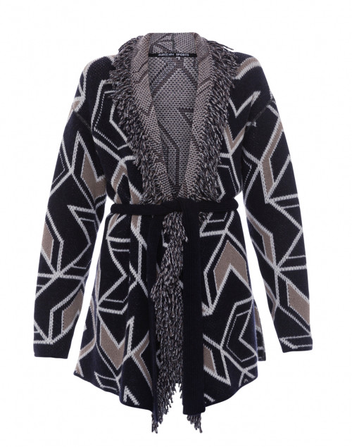 Navy Patterned Wrap Fringe Jacket