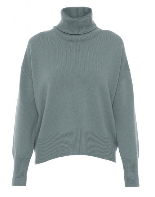 Slate Blue Wool Cashmere Turtleneck