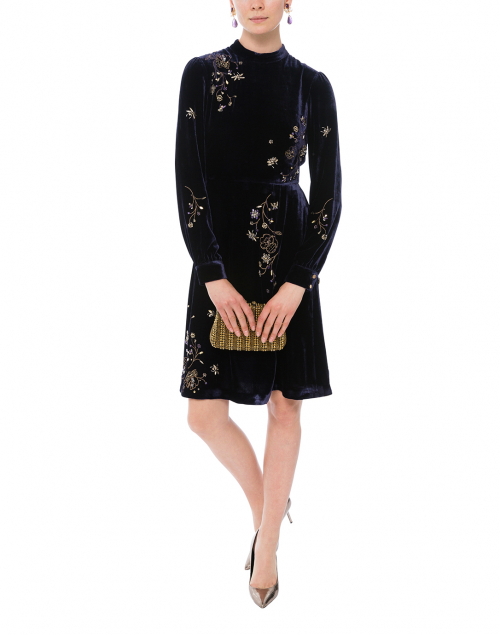 Che Midnight Blue Velvet Embellished Dress