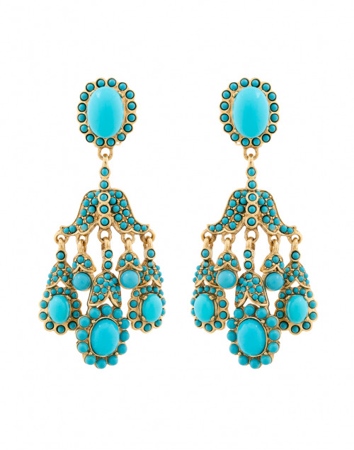 Turquoise Antique Gold Clip On Drop Earrings