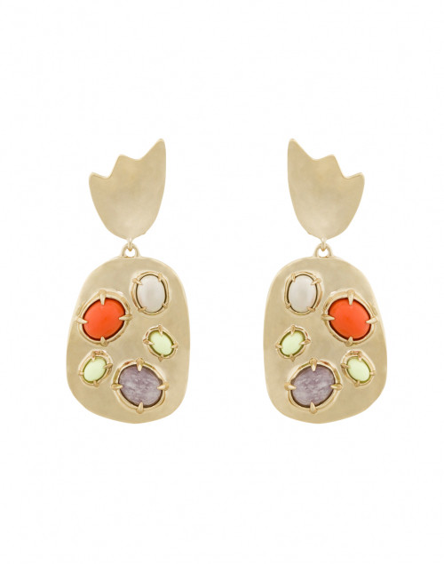 Sculptural Stone Cluster Clip Earring