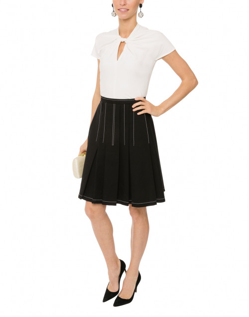 Black Stretch Cotton Pleated Skirt