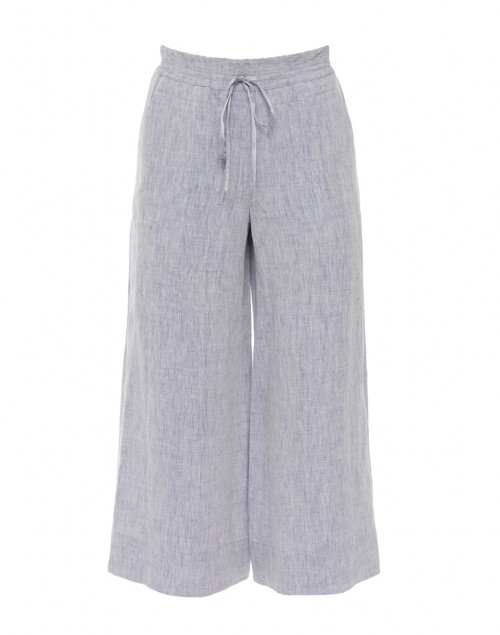 Blue Linen Cropped Drawstring Pant