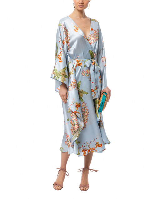 Brianna Sky Blue Orchid Print Silk Kaftan Dress