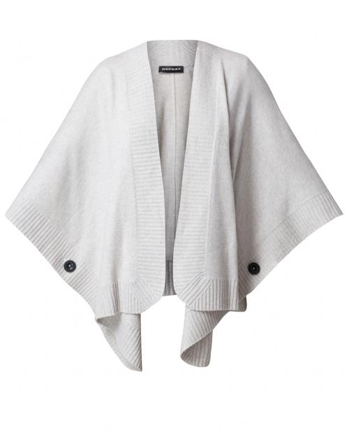 Ice Grey Wool Cashmere Poncho