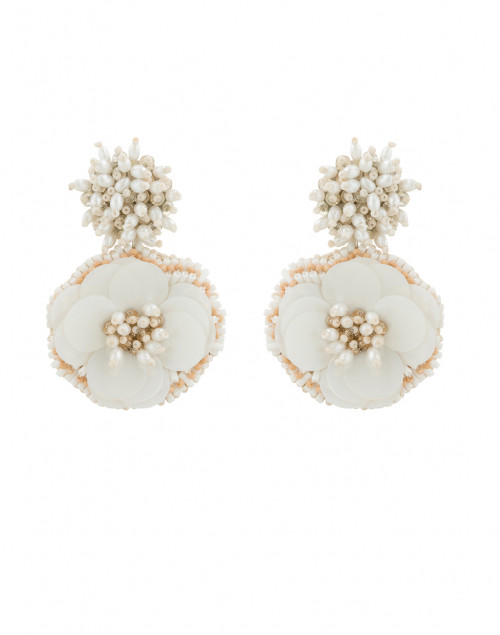 Marnie White Flower Clip Earrings