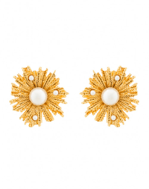 Pearl Burst Gold Button Clip Earrings