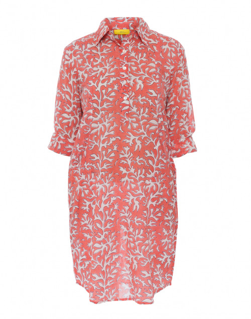 Raisa Orange Reed Print Cotton Shirt Dress