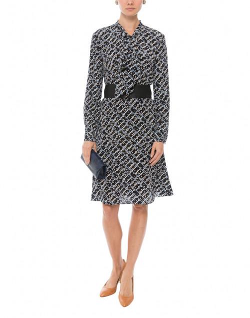 52cc66f10e4eb Lotte Domino Blue Print Silk Dress