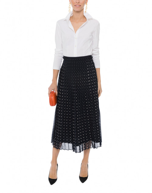 Avery Navy Polka Dot Pleated Skirt