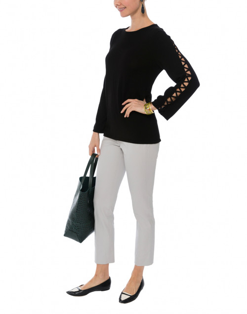 Black Pullover with Open Detail on Flared Sleeves