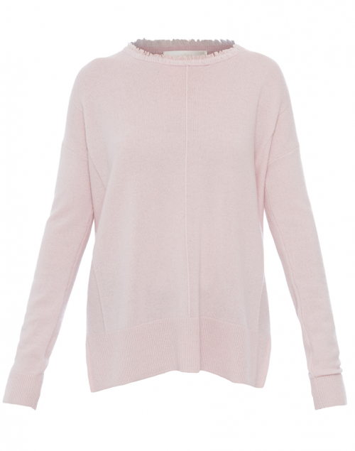 Coco Pale Pink Cashmere Sweater with Fringe Trim | Lisa Todd ...
