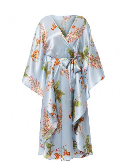 Brianna Sky Blue Orchid Print Silk Kaftan Dress