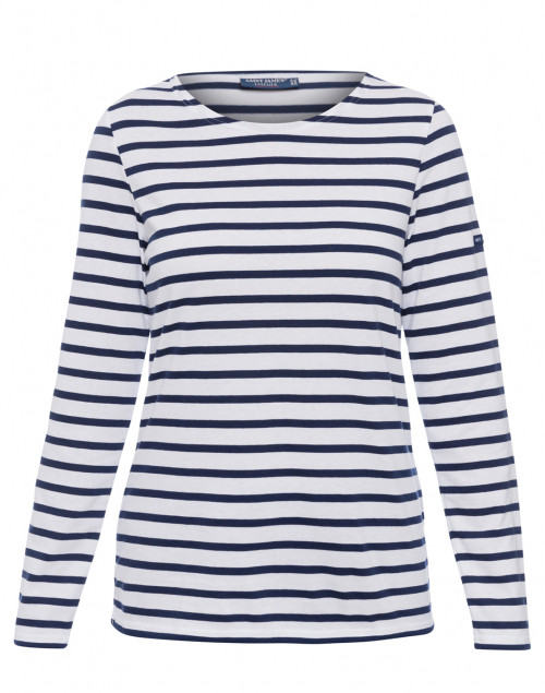 Minquidame white and navy striped cotton shirt saint for St james striped shirt