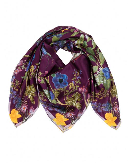 Isabella Purple Floral Silk Twill Scarf