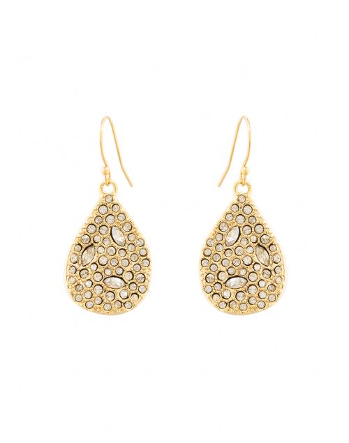 Gold Crystal Encrusted Tear Drop Earrings