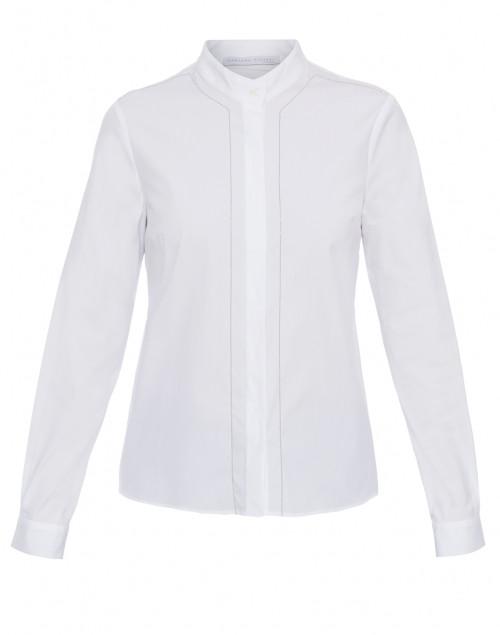 White Stretch Cotton Poplin Shirt with Brilliant Trim