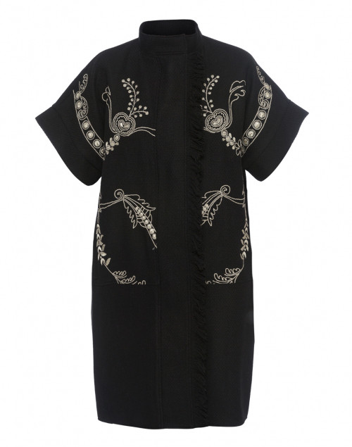 Black Wool Cocoon Coat with Gold Embroidery