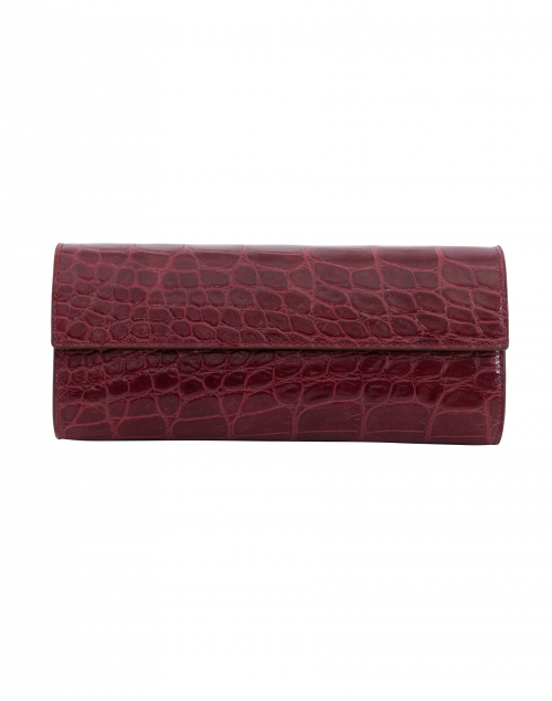 Wine Embossed Crocodile Clutch