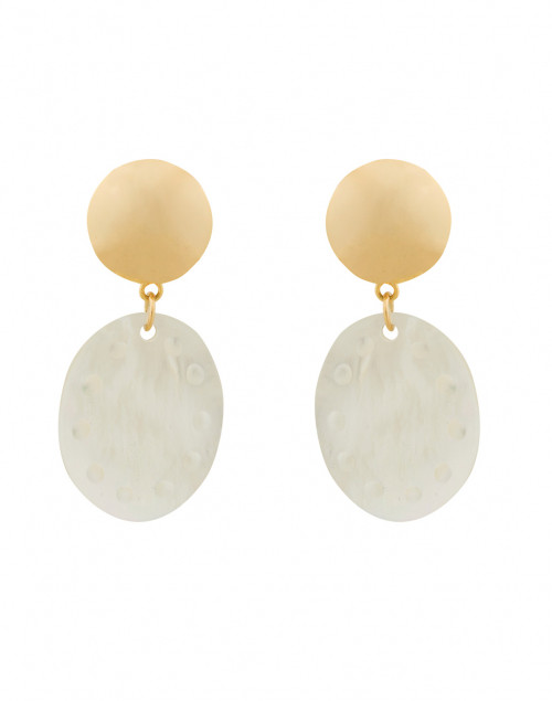 White Mother of Pearl Clip Earrings