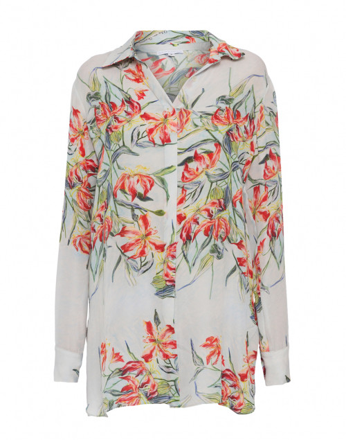 Ala Grey with Red Floral Silk Button Down Blouse
