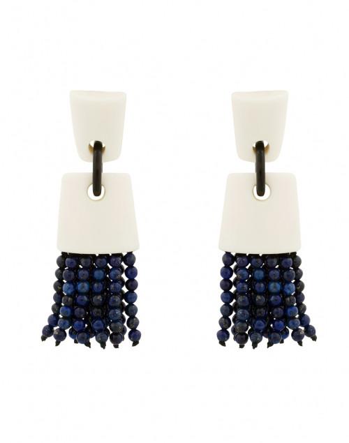 Bone and Lapis Beaded Tassel Clip Earrings