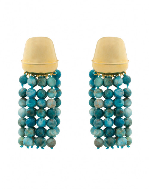 Apatite Tassel Clip Earrings