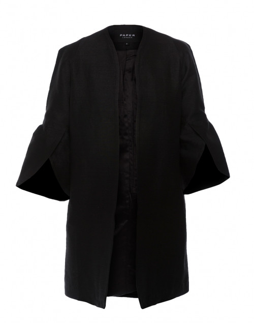 Structured Silk Black Petal Coat