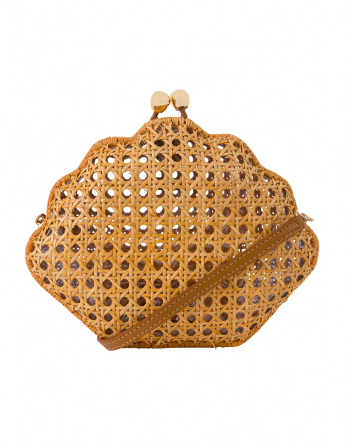Bela Shell Light Honey Wicker Clutch