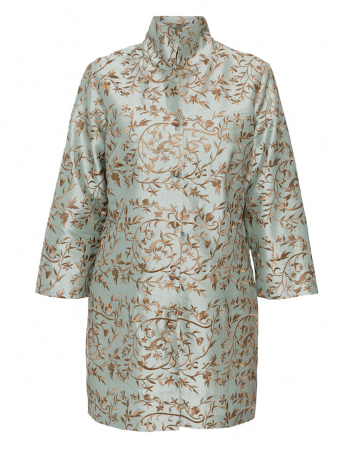 Rita Green Gold Floral Embroidered Silk Top