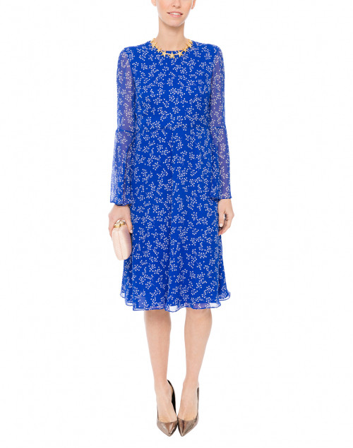 Cecily Blue and White Floral Print Dress