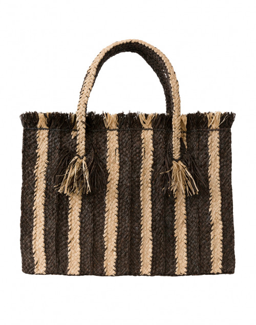 Georges Black and Natural Striped Raffia Tote