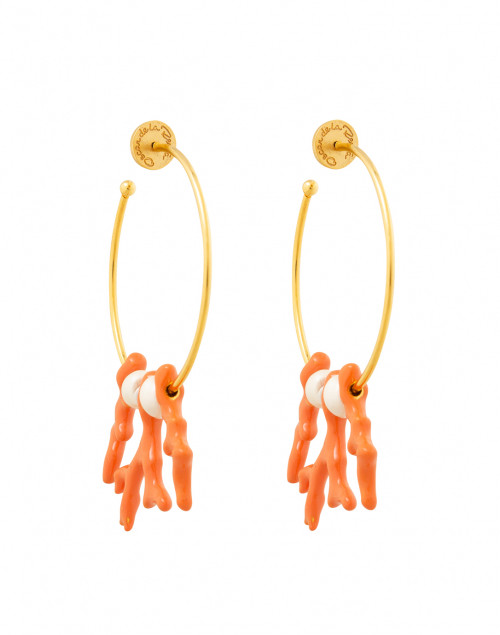 Paprika and Pearl Coral Branch Hoop Earring