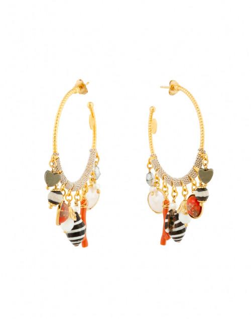 Anastasia Gold Charm Hoop Earrings