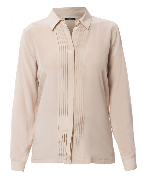 Ordito Beige Pleated Button Down Silk Blouse