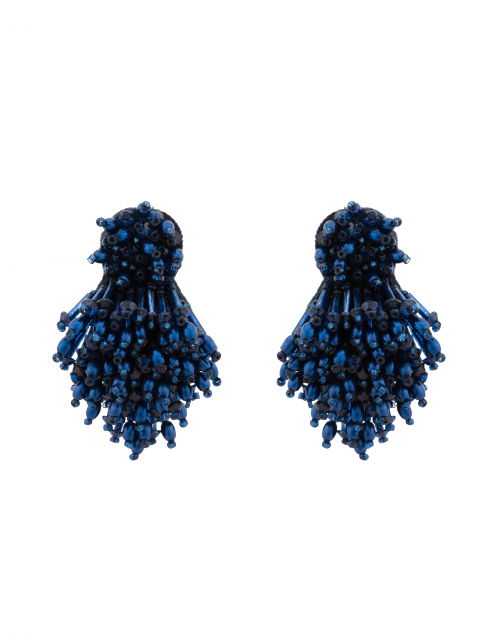 Navy Burst Clip Earrings