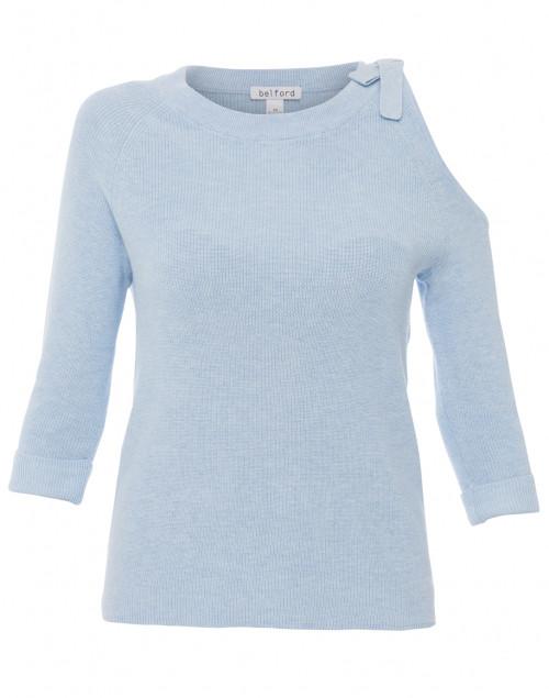 Light Blue Cold Shoulder Cotton Top