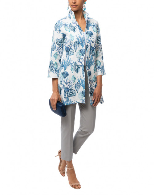 Rita Blue Seashells Embroidered Linen Top