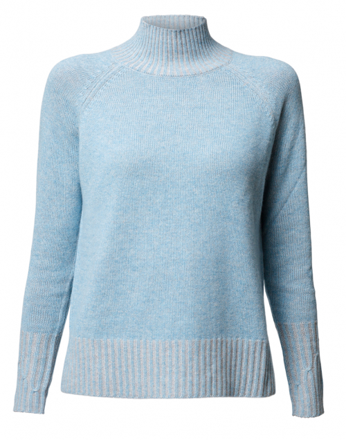 Sky Blue and Beige Cashmere Plaited Sweater
