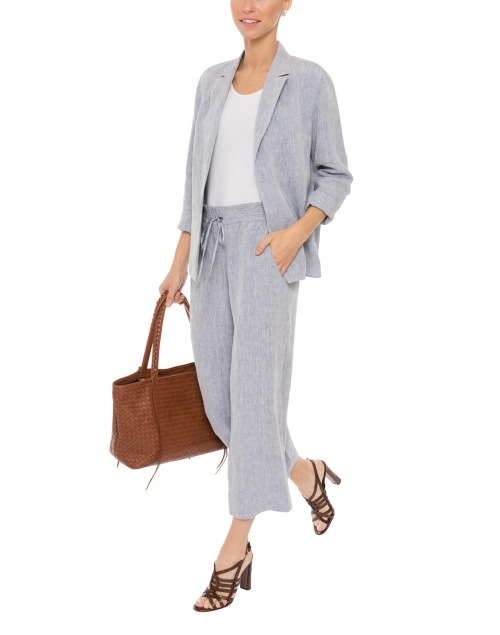 Blue Linen Open Jacket