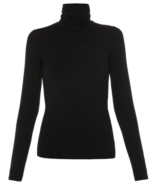Black Turtleneck Stretch Viscose Top