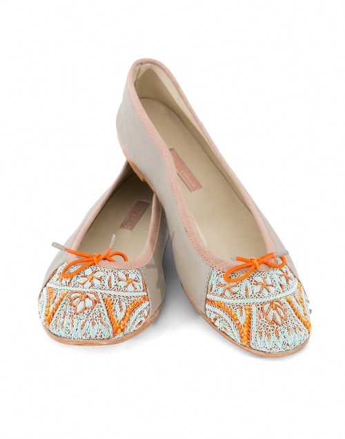 Bizi Silver Ballet Flats with Orange and Blue Embroidery